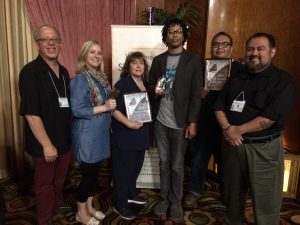 Pictured at the 2016 Star Awards are (L-R): PCTA General Manager John M. Borack; PCTA administrative assistant Christine Gilbert; award-winning producers C. Sue Braun, Russ Cogdell and Paul Silva; and PCTA production manager Louis Rocha.