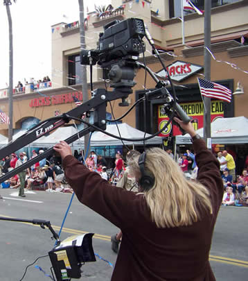 Using the jib to shoot the parade