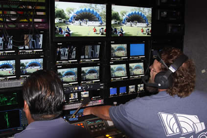 Directing a concert in the park from the Production Truck